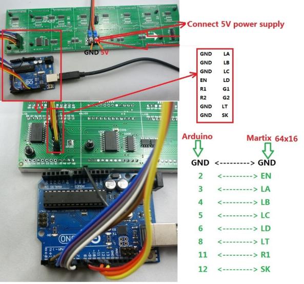 Display 16x64 arduino chiosz robots 6